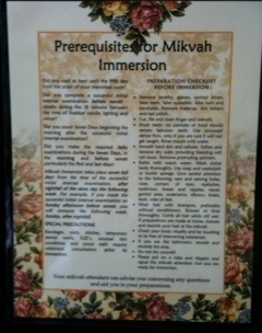 Laminated Mikvah Preparation Room Checklist