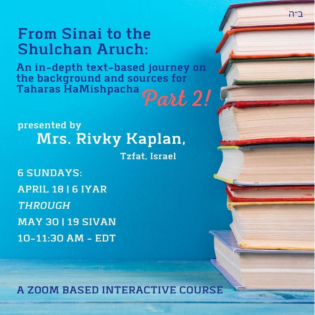 Sinai to Shulchan Aruch Part 2
